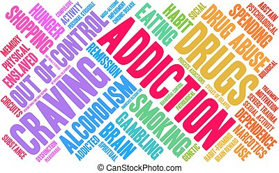 Addiction Word Cloud - Addiction word cloud on a white...