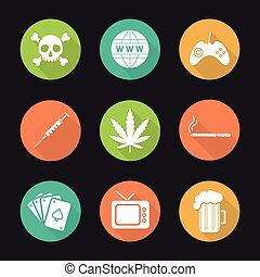 Addictions and bad habits. Flat design long shadow icons set