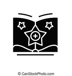 Adding knowledge black icon, concept illustration, vector ...