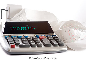 An adding machine or calculator with adding machine tape or paper.