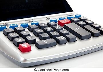 Adding machine on a white background