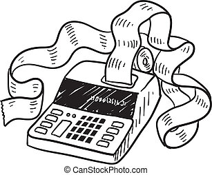 Adding machine sketch - Doodle style adding machine or tax...