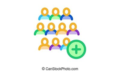 adding new employees Icon Animation. color adding new employees animated icon on white background