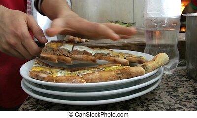 Adding Turkish Meat Pita To Plate