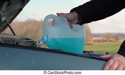 Adding wash fluid for car window