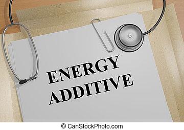 additif, énergie, concept, -, monde médical