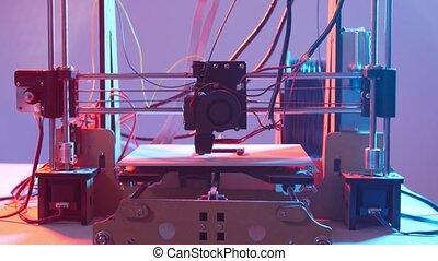 additif, fonctionnement, imprimante, 3d, lumière, ou, impression, concept.., robotique, automation, fabrication, couleur