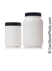 additif, nourriture, isolé, blanc, pots, protéine