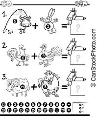 addition activity coloring page - Black and White Cartoon...