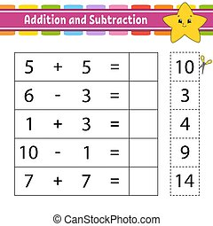 Addition and subtraction. Task for kids. Education developing worksheet. Activity page. Game for children. Funny character. Isolated vector illustration. Cartoon style.