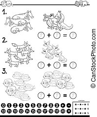 addition educational game color book page