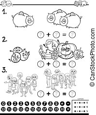 addition educational game color book worksheet