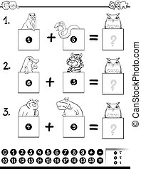 addition educational game coloring page