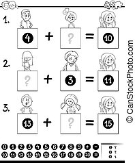 addition educational game coloring page - Black and White...