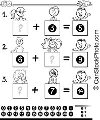 addition educational game coloring page with kids - Black...