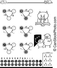 addition educational game for kids - Black and White Cartoon...