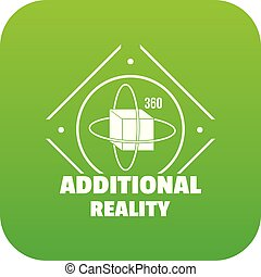 Additional reality icon green vector