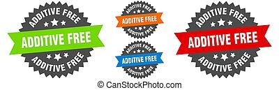 additive free sign. round ribbon label set. Seal