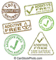 Additive Free Stamps - Additive free food. Rubber stamp...
