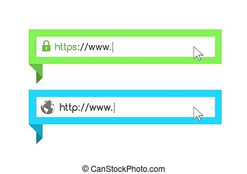 Address and navigation bar with http and https symbol