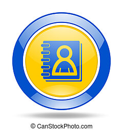 address book blue and yellow web glossy round icon