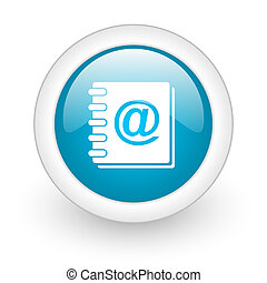address book blue circle glossy web icon on white background