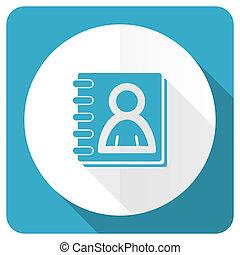 address book blue flat icon