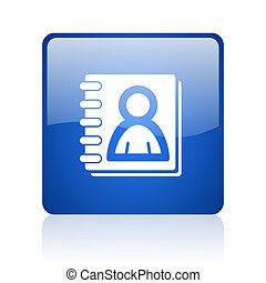 address book blue square glossy web icon on white background