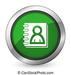 address book green icon