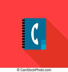 Address book icon, flat style
