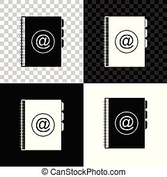 Address book icon isolated on black, white and transparent background. Notebook, address, contact, directory, phone, telephone book icon. Vector Illustration