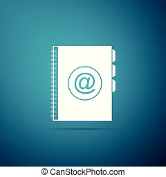 Address book icon isolated on blue background. Notebook, address, contact, directory, phone, telephone book icon. Flat design. Vector Illustration