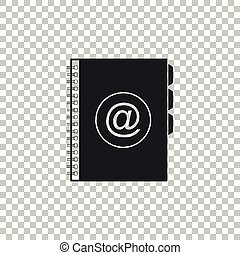 Address book icon isolated on transparent background. Notebook, address, contact, directory, phone, telephone book icon. Flat design. Vector Illustration