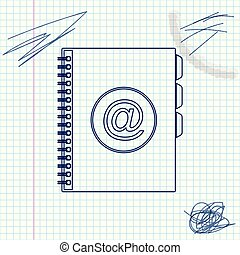 Address book line sketch icon isolated on white background. Notebook, address, contact, directory, phone, telephone book icon. Vector Illustration