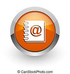 address book orange glossy web icon