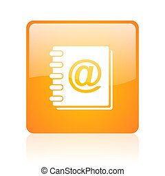 address book orange square glossy web icon