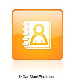 address book orange square glossy web icon