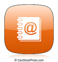 address book orange square web design glossy icon
