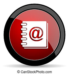 address book red circle glossy web icon on white background - set440