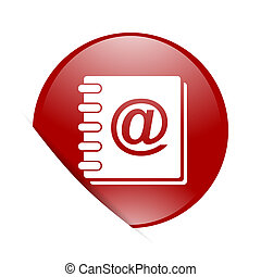 address book red circle glossy web icon