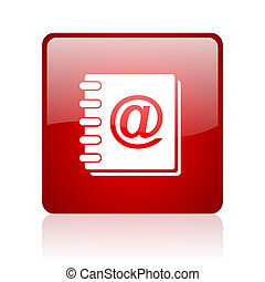 address book red square glossy web icon on white background