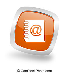 address book square orange glossy chrome silver metallic web icon
