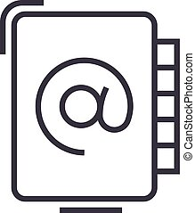 address book vector line icon, sign, illustration on background, editable strokes