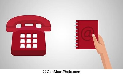 Address book with numbers HD animation - Hand with Telephone...
