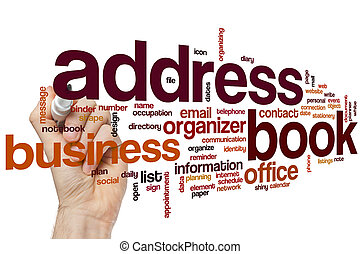 Address book word cloud concept