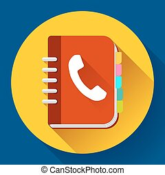 Address phone book icon, notebook icon. Flat design style.