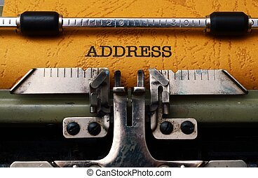 Address text on typewriter