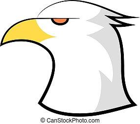 adelaar, amerikaan, kaal, ontwerp, hoofd