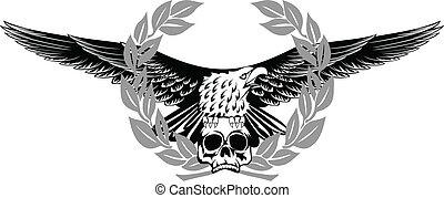 adelaar, en, schedel