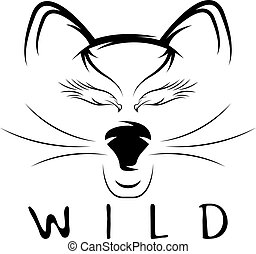 adelaar, eyes, kat, vector, ontwerp, mal, wild